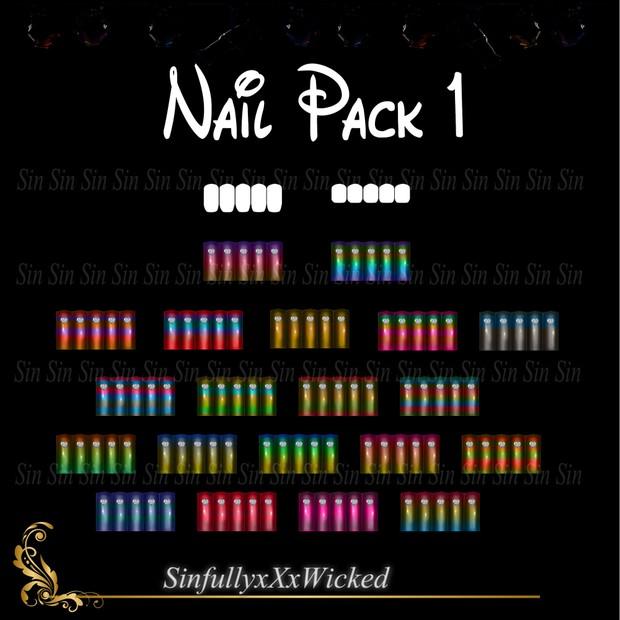 Nail Pack 1 (20 Nail Colors + 2 Nail  Opacity Maps)