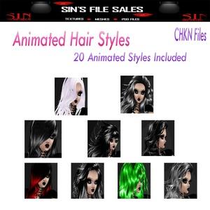 20 Animated Hair Files + CHKN