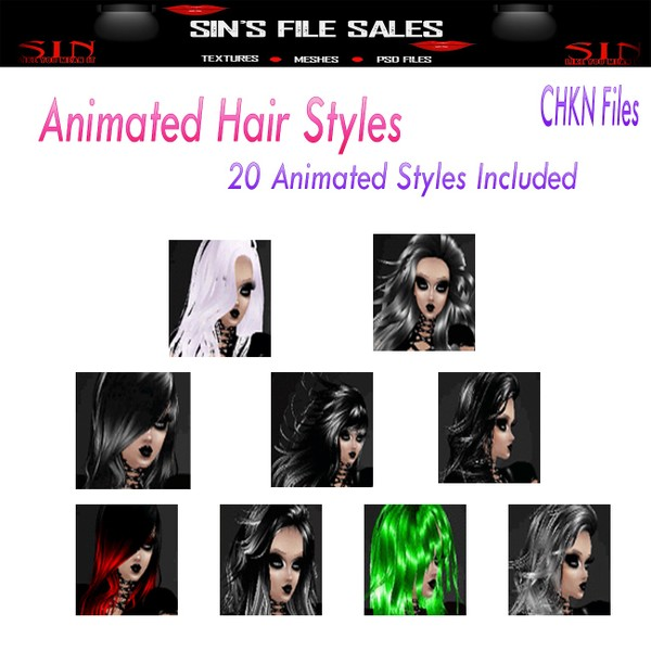 20 Animated Hair Files + CHKN