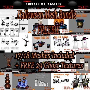 Halloween Mesh Bundle + Freebie 20 + Ghost Textures.