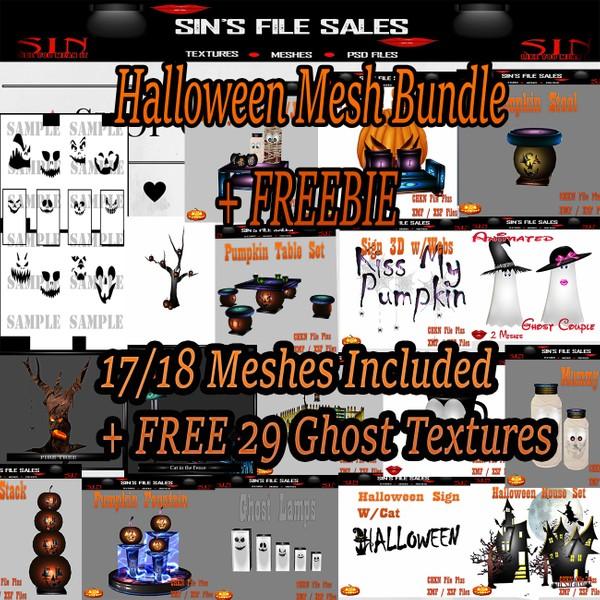 Halloween Mesh Bundle + Freebie 20 + Ghost Textures.