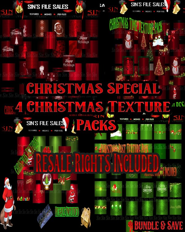 🎅🎄 Christmas Texture Mega Bundle with Bonus 15 Free Textures🎅🎄Resale RIghts Included!