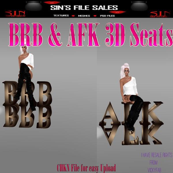 BRB, AFK 3D Sign Seats * CHKN Files