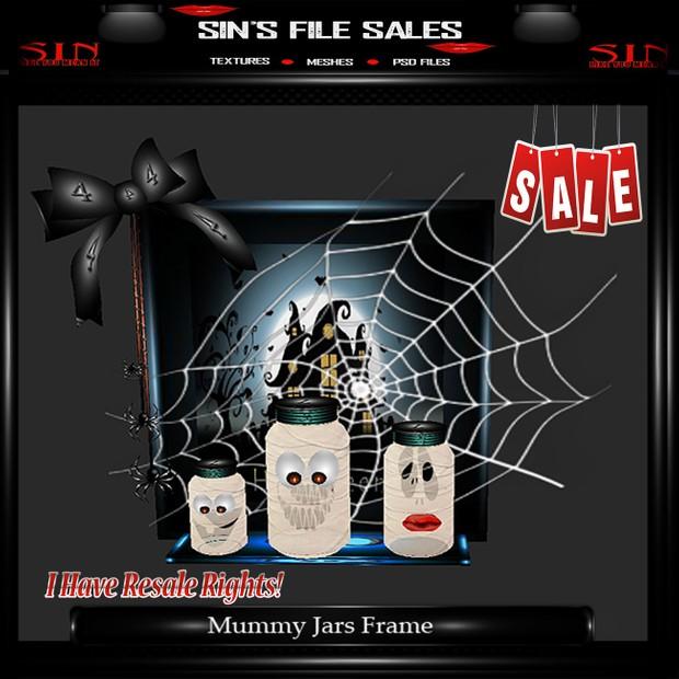 Mummy Jars w/Spider Web Frames Mesh