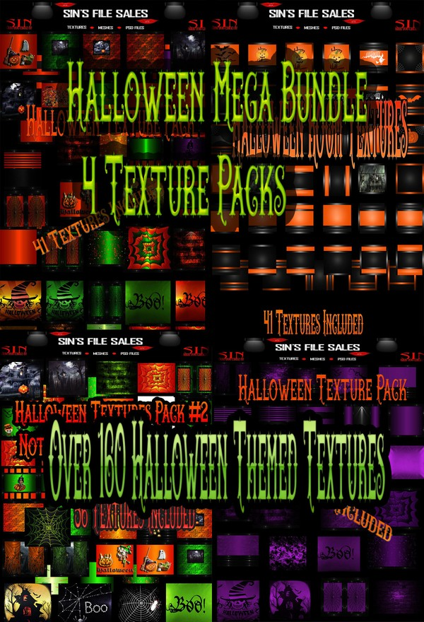 Halloween Mega Bundle* 4 Texture Packs w/Over 160 Textures