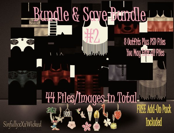 Clothing Bundle #2+ PSD FIles ( 44 files/images in Total) FREE CHARM Pack