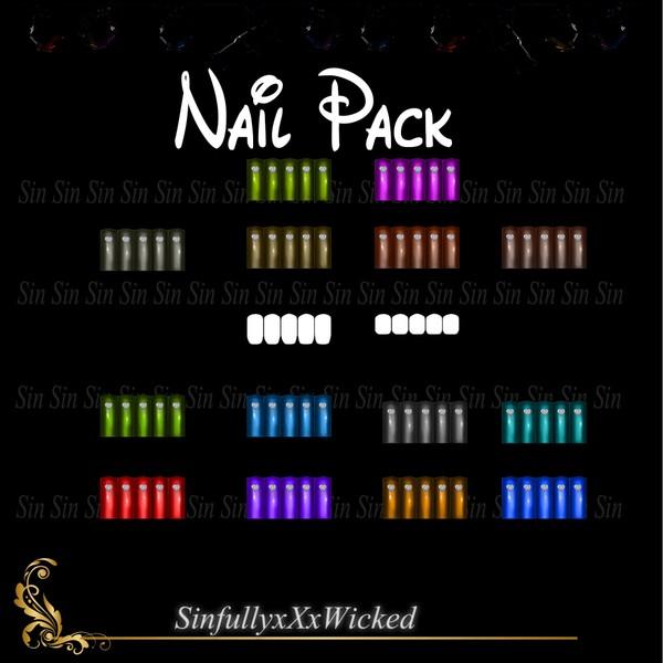 Nail Pack 2 (14 Nail Colors + 2 Nail  Opacity Maps)