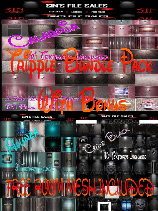 Tripple Bundle * 3 Textures Packs Plus Free Room Mesh