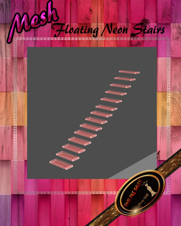 •Neon Floating Stairs Mesh• CHKN File