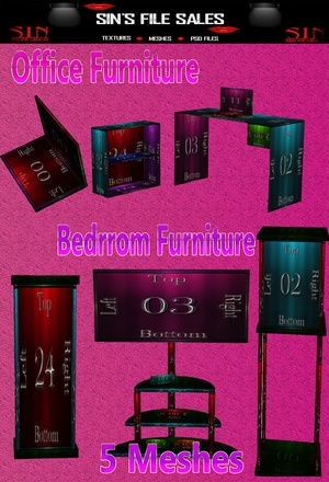 Office & Bedroom Furniture Meshes