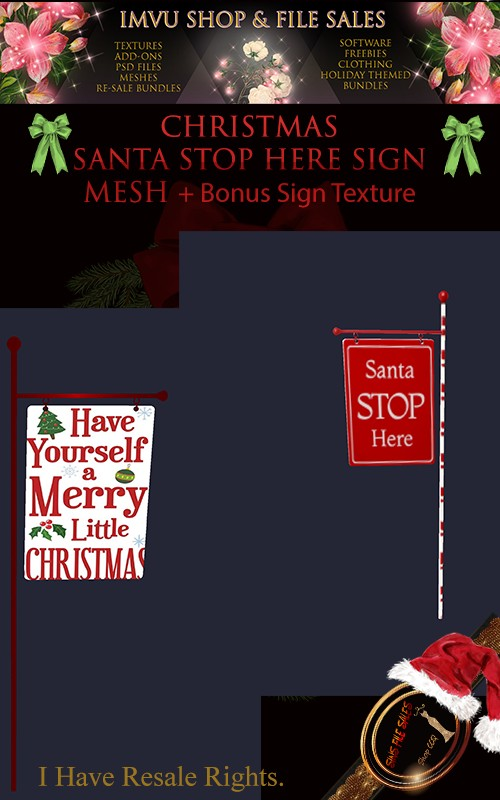 🎅Mesh🎅 Santa Stop Here Mesh Sign Textured + Bonus Texture
