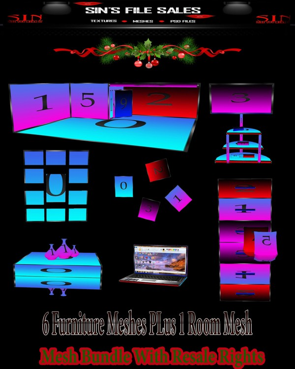 ~*Winter Special~* 6 furniture Meshes + 1 Room Mesh with Resale Rights!!