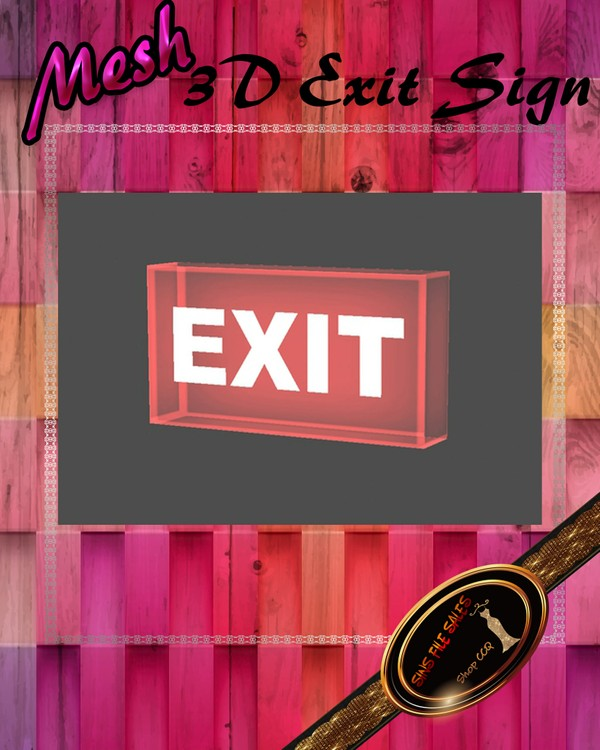 •3D Exit Sign Mesh• CHKN File