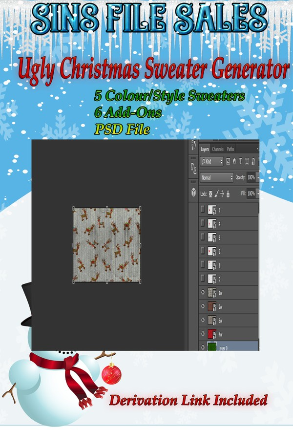 Ugly Christmas Sweater Generator PSD File
