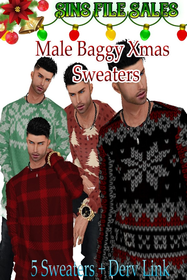 Male Baggy Xmas Sweaters *5 Sweaters