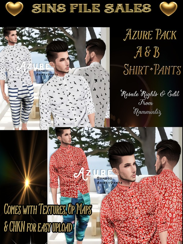 ♥Azure Male Bundle A&B♥ Chkn for easy upload.