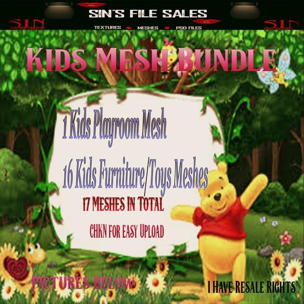 Super Deal.. Kid's Mesh Bundle 1 Kids Playroom Mesh, 16 Furniture/Toys Meshes