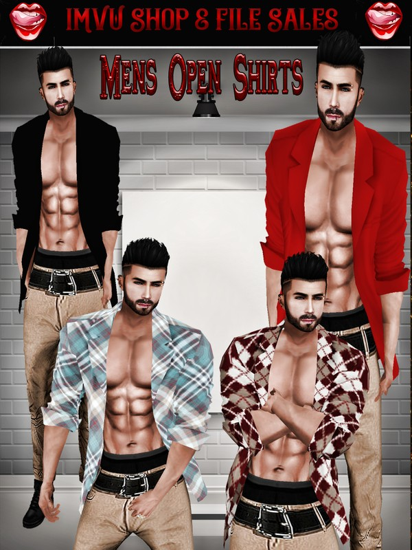 ◘Mens Opened Shirt Set◘ 4 Shirts + Derv Link