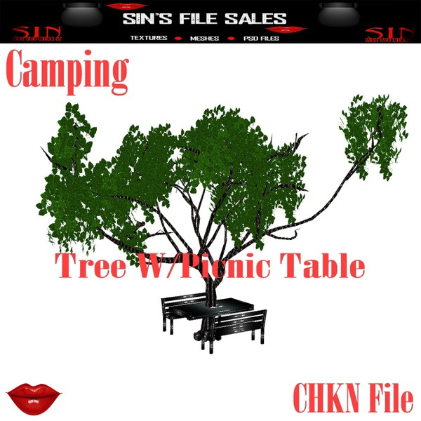 Tree W/Picnic Table * Camping Collection