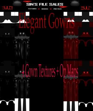 Elegant Gowns *4 Gown Textures + Op Maps