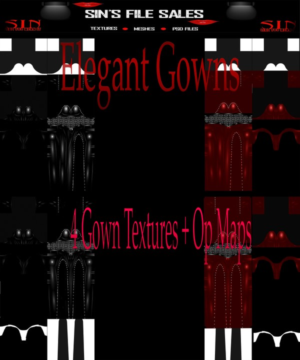 Elegant Gowns *4 Gown Textures + Op Maps