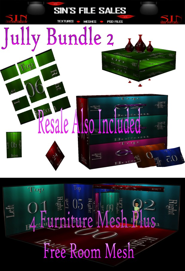 July Bundle 2 *4 Furniture Meshes + 1 Room Mesh with Resale Included