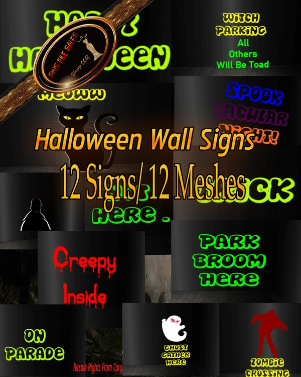 💀 Halloween Mesh Signs Bundle 💀  12 Signs/CHKN Files
