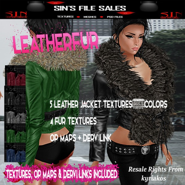 Leather Fur* Womans Leather Jackets w/fur ( 5 colours,4 Fur Colours Included)