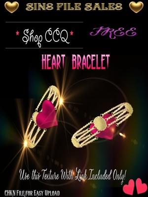 FREE ♥Heart Gold Bracelet *CHKN file for easy upload.