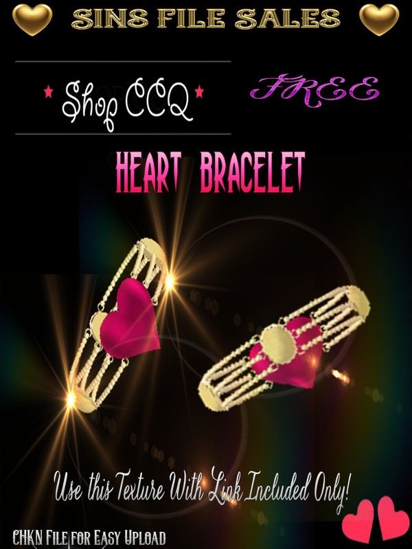 FREE ♥Heart Gold Bracelet *CHKN file for easy upload.