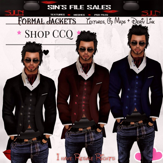 Formal Jackets * 3 Jackets with Textures, Op Maps + Derv Links*
