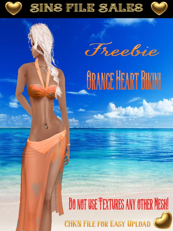 Freebie * Orange Heart Bikini * Delure Mesh