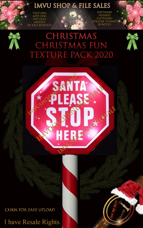🎅Mesh🎅 Stop Sign/Santa Stop Here- CHKN for Easy Upload