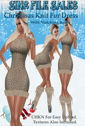 Christmas Knitted Fur V1 with Matching Boots