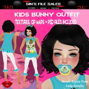 Kid's Bunny Outfit * Textures, Op Maps + PSD Included