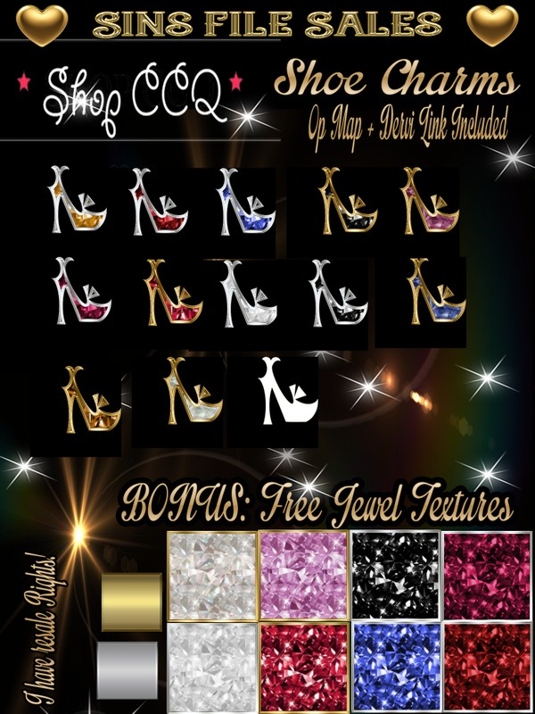 Shoe Charms/Gems Plus BONUS FREE Jewelry Texture Pack