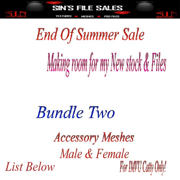 End Of SUMMER SALE!! Accessory Mesh Bundle!