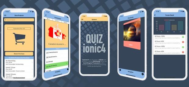 Quizionic4 - Ionic4, Angular7, Cordova9, Quiz App Template w/local SQLite &  PHP/MySQL databases