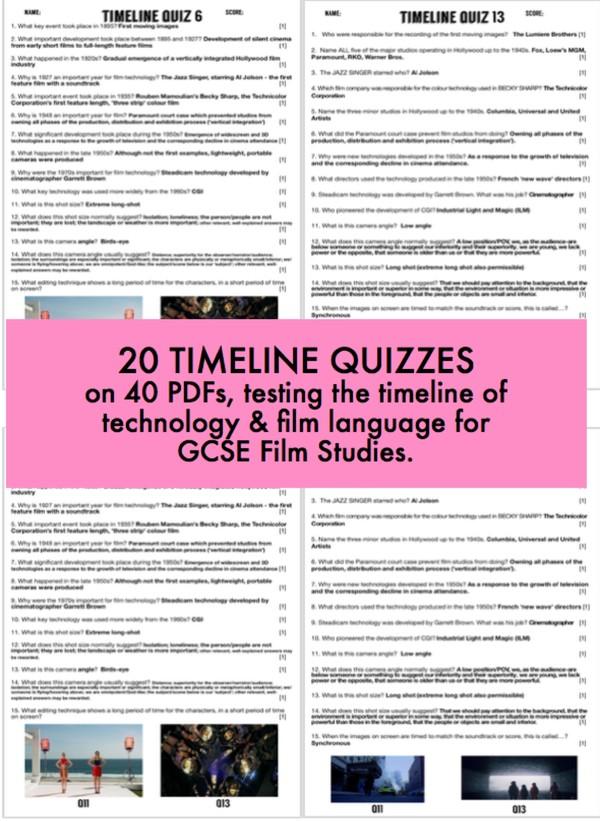 20 Timeline of technology quizzes for GCSE Film studies. Includes un-editable PDF versions.
