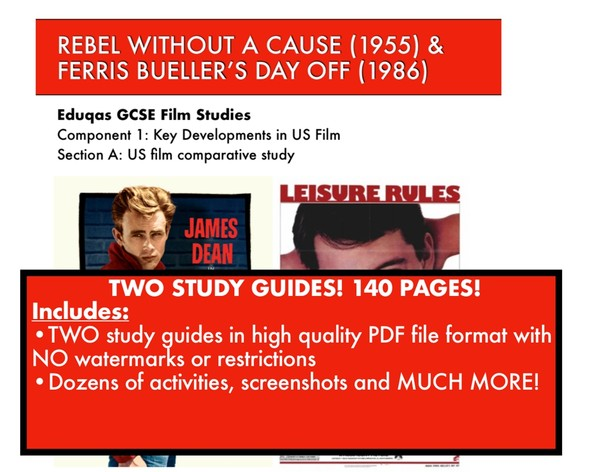 Rebel Without A Cause & Ferris Bueller's Day off Study Guides in High Quality PDF formats