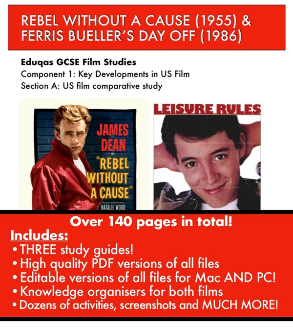 Rebel Without A Cause and Ferris Bueller's Day Off Study Guides