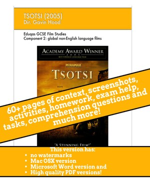 Tsotsi GCSE Film Studies Scheme of Work / revision guide / ebook - No watermarks