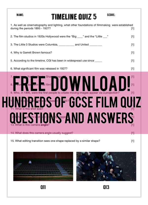Timeline quiz questions and answers for GCSE Film Studies