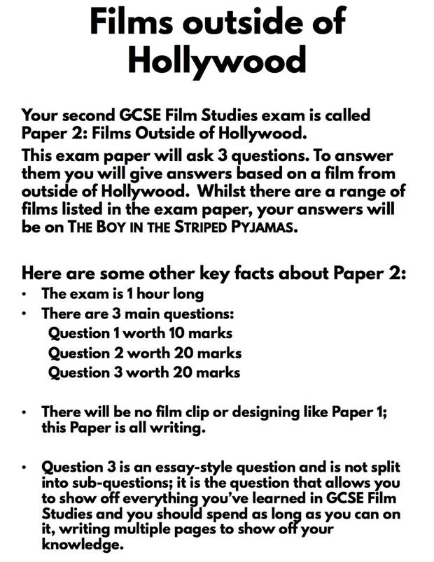 Boy in the Striped Pyjamas GCSE Film Studies revision workbook. Un-watermarked version.