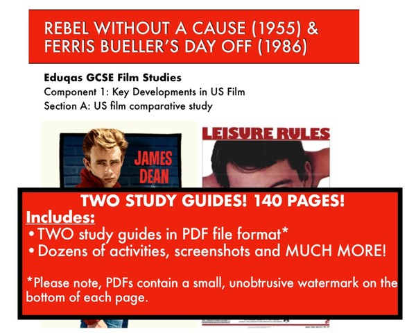 Rebel Without A Cause and Ferris Bueller's Day off Study Guides for GCSE Film-watermarked PDFs