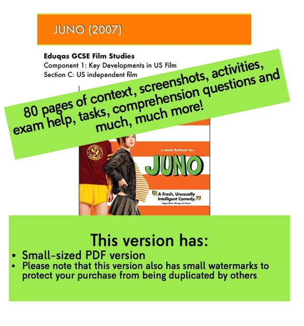 Juno study guide / text book for GCSE Film Studies Component 1 Section C Specialist Writing