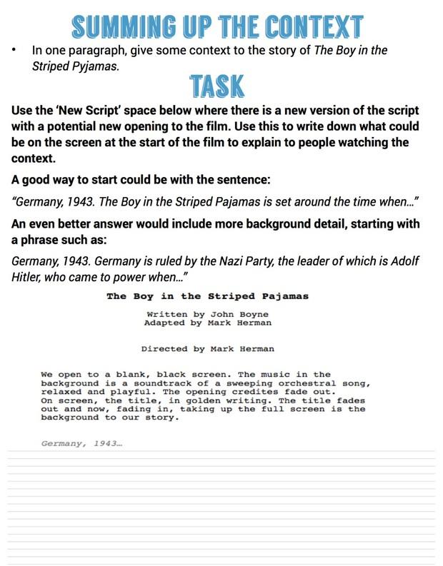GCSE Film Studies Boy in the Striped Pyjamas (Pajamas) context workbook