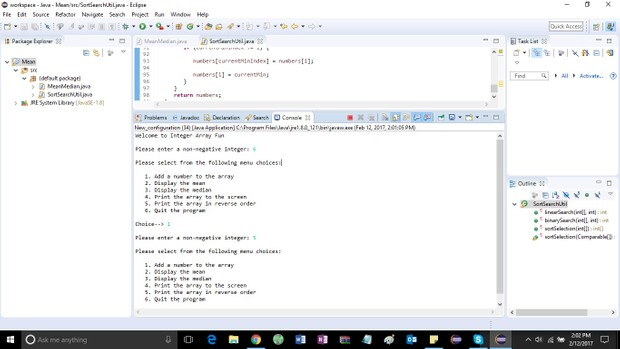 Array Sorting, Traversal and Exception Handling Solution