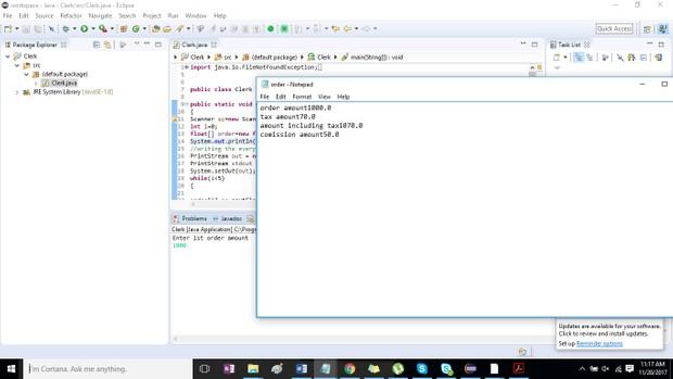 Clerk Java program Solution