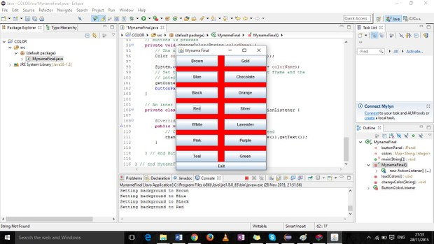 GUI that displays the hexadecimal values using radio buttons to select a value